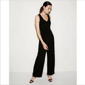 Express V-Neck Flare Black Jumpsuit